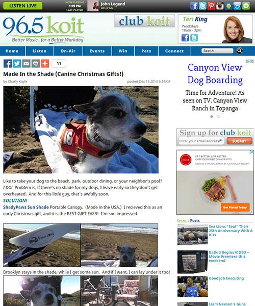 ShadyPaws Sunshades featured on KOIT Radio Article
